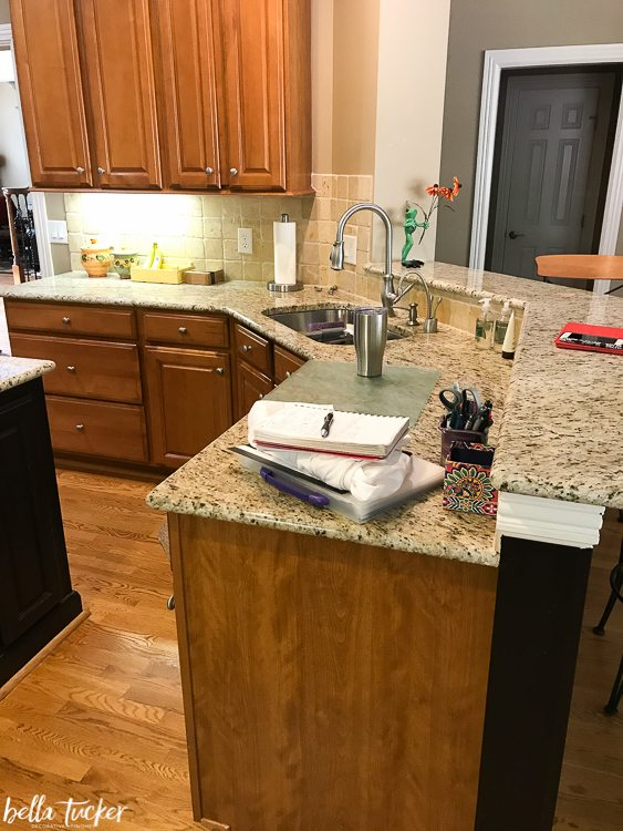 narrow kitchen island with seating and bath remodel two tier update - bella tucker decorative ...
