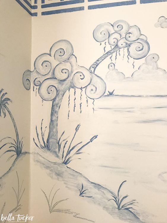 Pom Trees Drawing : trees, drawing, Chinoiserie-mural-pom-pom-tree, Bella, Tucker