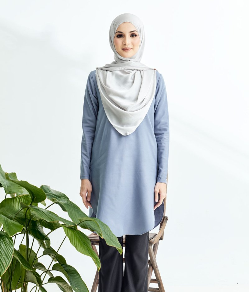 Lily Long Top Dusty Blue