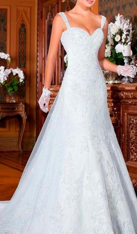 Vestido de noiva semi sereia com alça decote coração - Bella Angela
