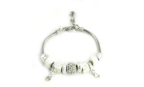 Athena Jewelry Murano Glass Bead Daisy Crystal Snake Chain