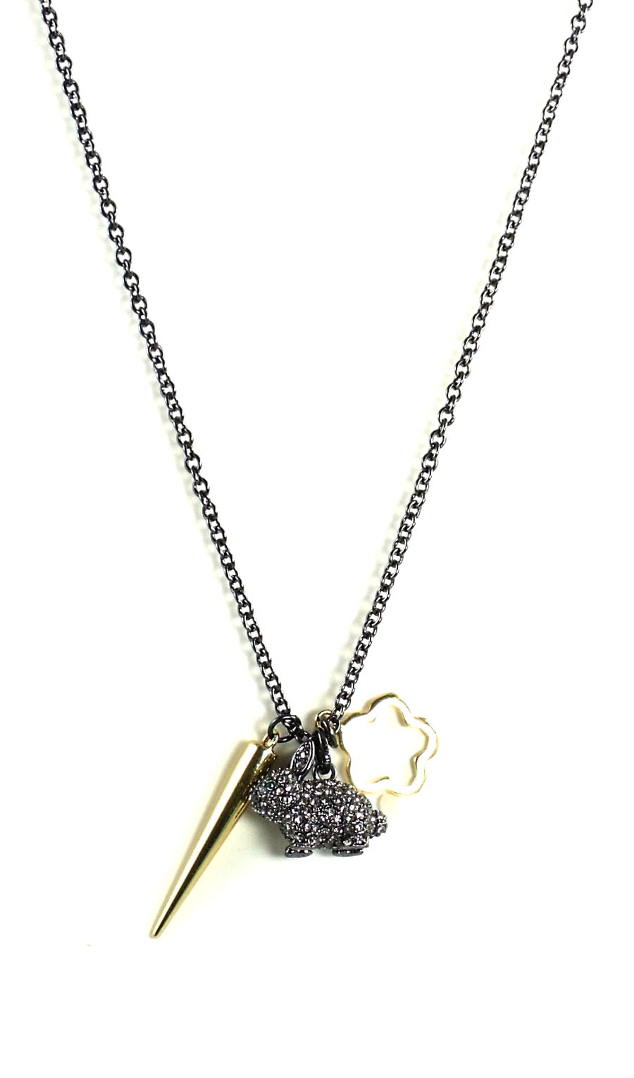 Juicy Couture Jewelry Black Silver Pave Bunny Necklace NWT