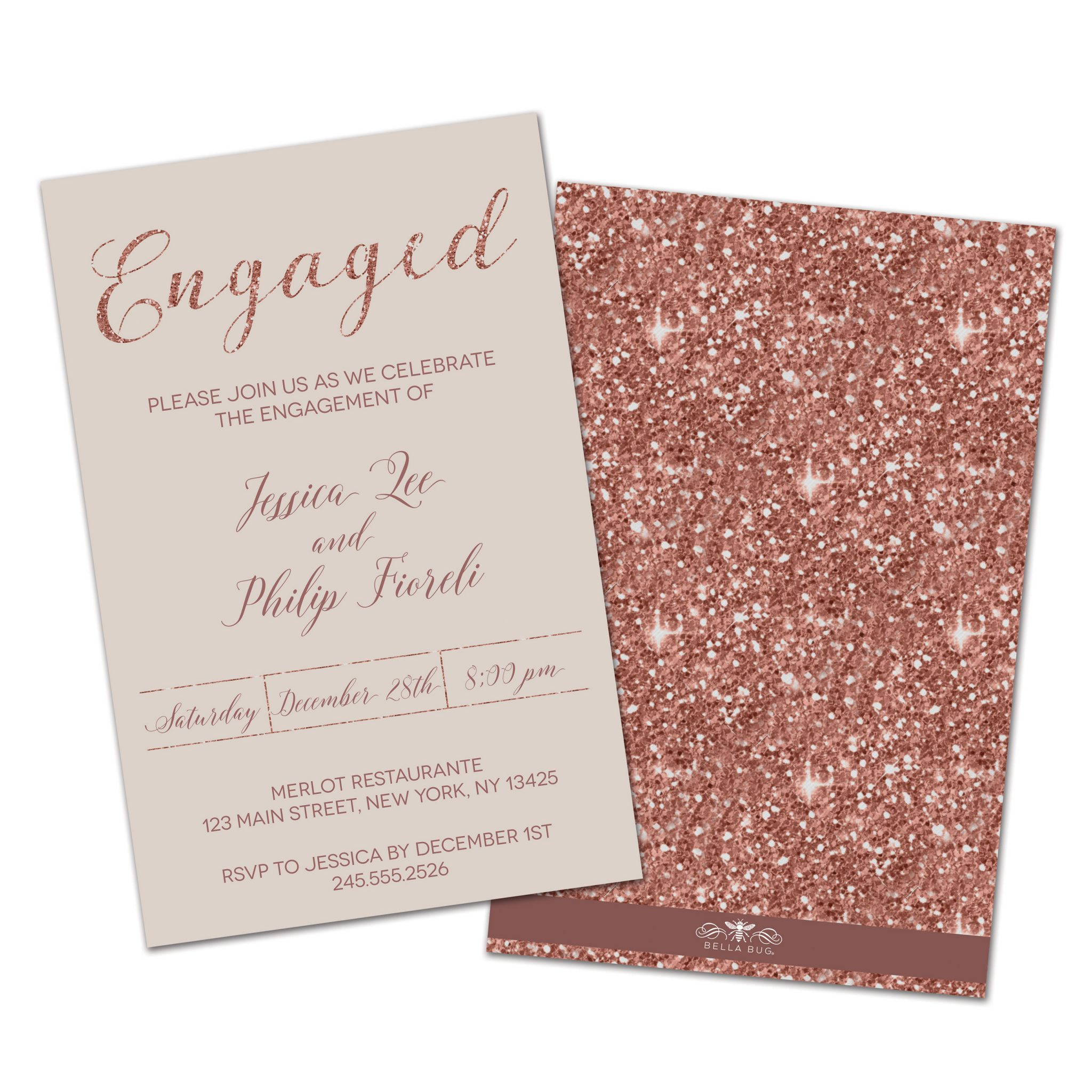 Rose Gold Sparkle Personalized Engagement Party