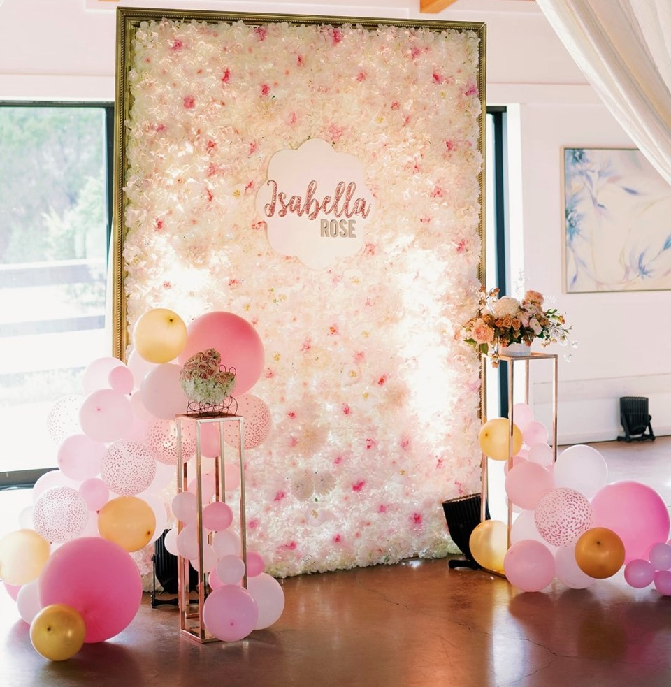 precious pink baby shower flower wall