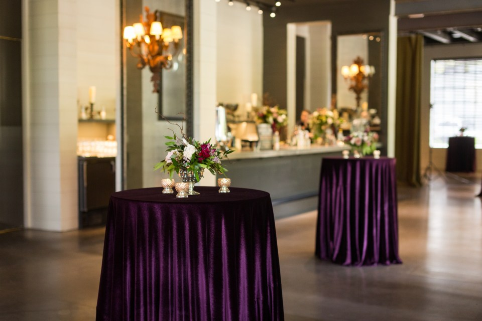 violet cocktail tables for a glamorous wedding