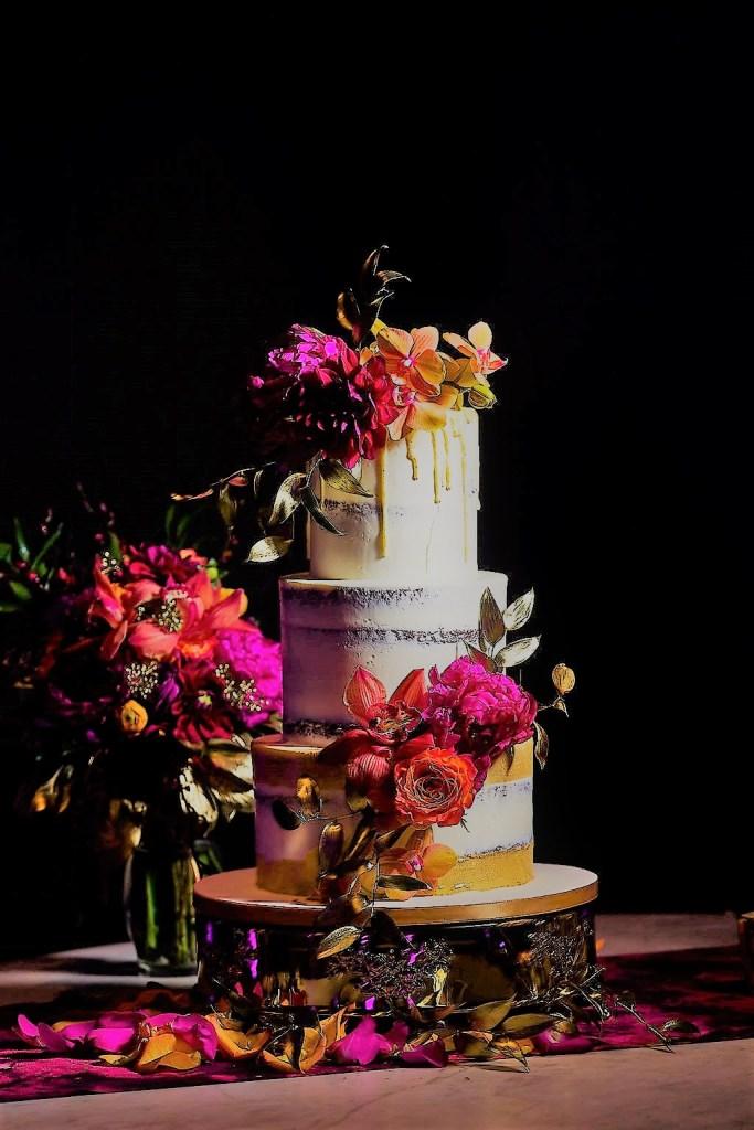 A glamorous statement wedding cake