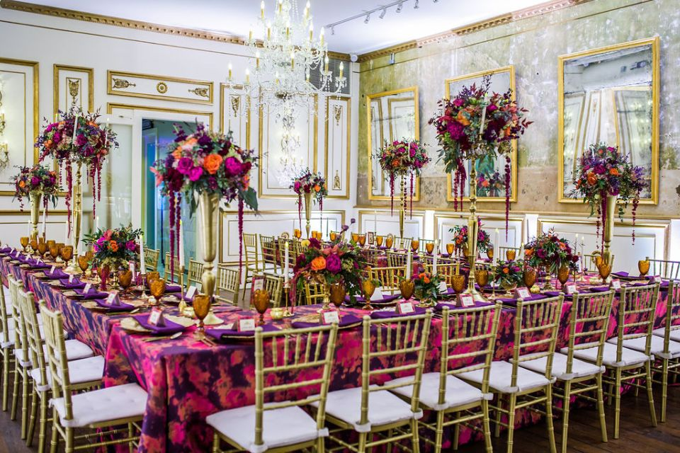 The reception room at a glamorous statement wedding