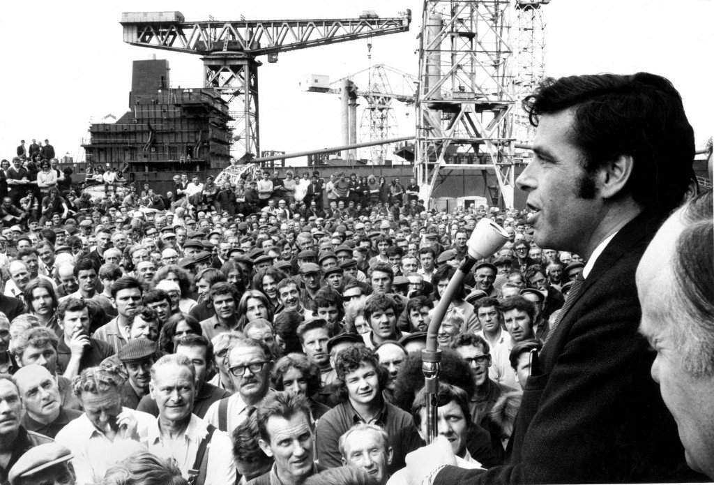 Jimmy Reid addresses a mass meeting of the Upper Clyde Shipyards workforce at Clydebank, July 1971