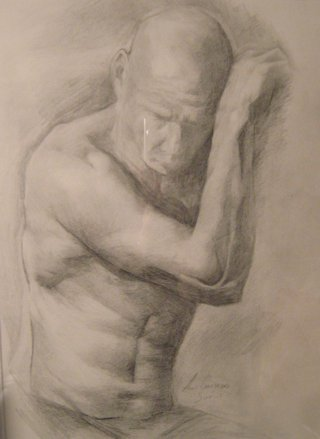 the Soldier-Charcoal Drawing by Bella Chartrand from Survival Reality TV Show Utopia National Academy of Arts New York