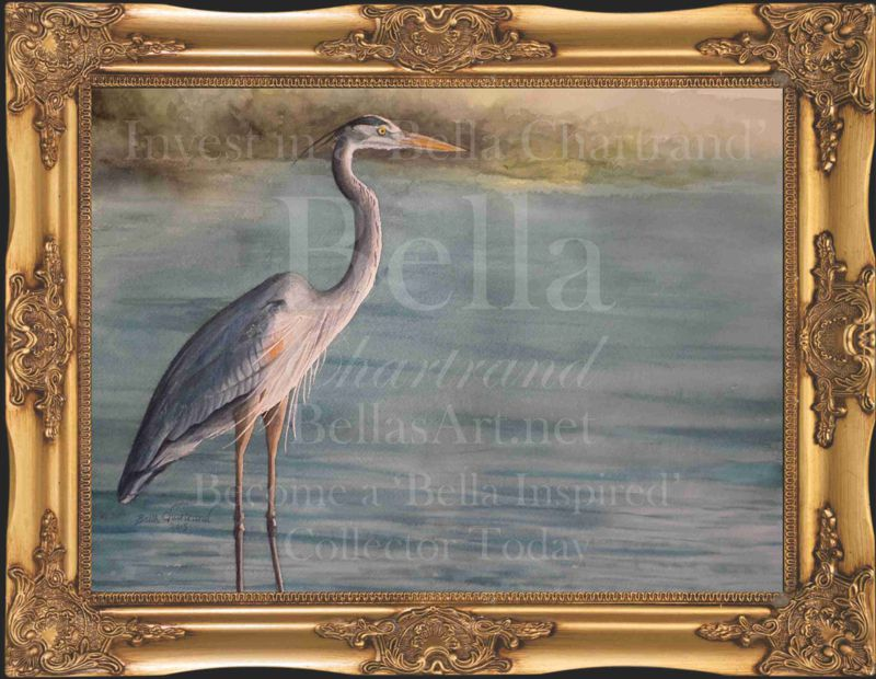 Great_Blue_Heron-Watercolor Painting by Bella Chartrand from Survival Reality TV Show Utopia