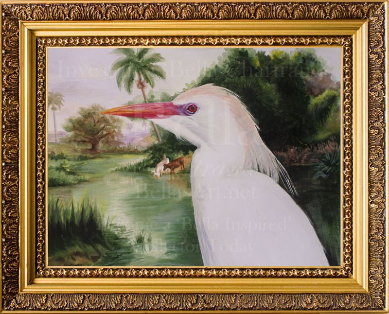 Rainbow Cattle Egret Original Watercolor Painting by Bella Chartrand from Survival Reality TV Show Utopia