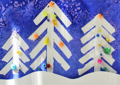 Tape Resist And Salt Painting Christmas Art Things To