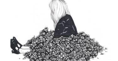 grafika egy szomorkodó lányról