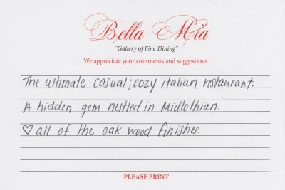 Bella Mia Fine Dining Compliment Card 11