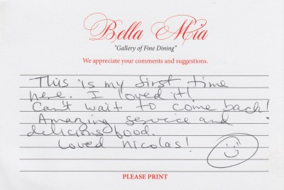 Bella Mia Fine Dining Compliment Card 13