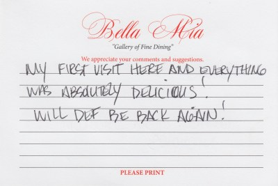 Bella Mia Fine Dining Compliment Card 14