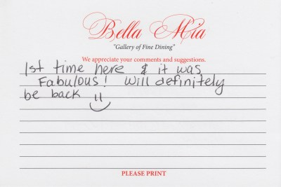 Bella Mia Fine Dining Compliment Card 20