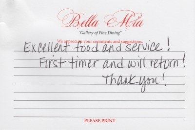 Bella Mia Fine Dining Compliment Card 21