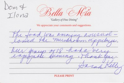 Bella Mia Fine Dining Compliment Card 24