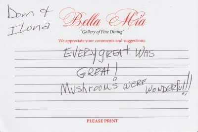 Bella Mia Fine Dining Compliment Card 25