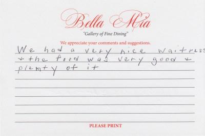 Bella Mia Fine Dining Compliment Card 26