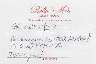 Bella Mia Fine Dining Compliment Card 32