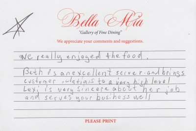 Bella Mia Fine Dining Compliment Card