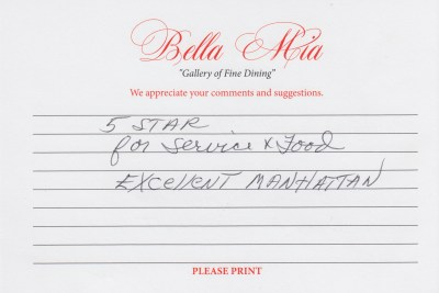 Bella Mia Fine Dining Compliment Card 7