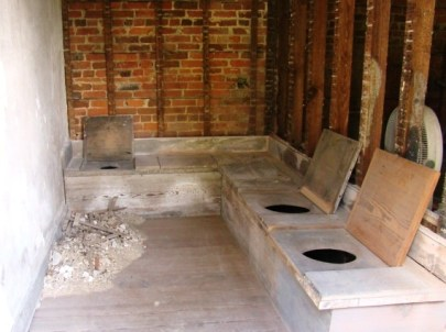 Inside of one of the privies