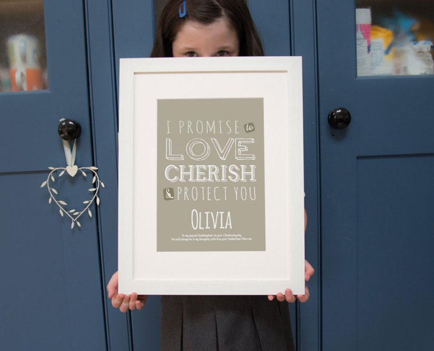 personalised typographic print ideal as a christening gift from godparents