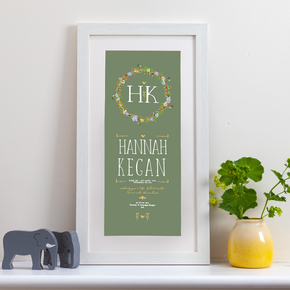 personalised print with a pretty floral garland design on a sage green background in a tall white frame ideal for new births, christenings or wedding celebrations