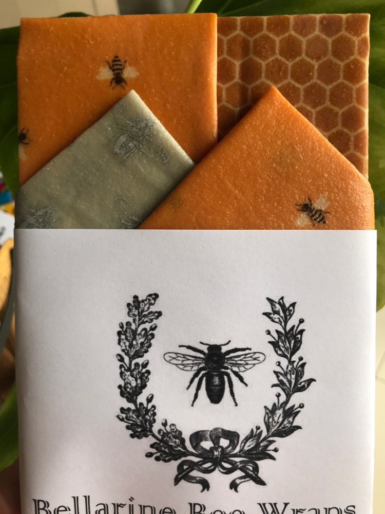 Starter Pack Reusable Beeswax Foodwraps featuring honeycomb, honeybees and silver bee designs on fabric