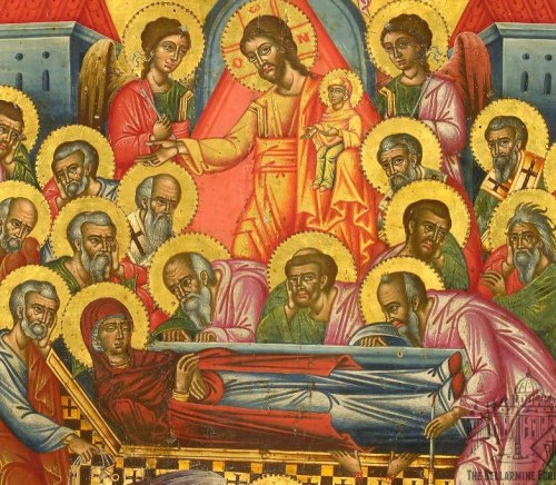 Dormition Icon detail of Mary with Jesus