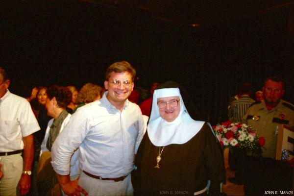 If you look in the left hand of the guy in the background, he is holding the image of St. Joseph I made and gave to Mother Angelica.
