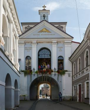 "The city gate to Vilnius, over which Ostra Brama (gate of Dawn) is. Photo by David Iliff, a href=""https://creativecommons.org/licenses/by-sa/3.0/deed.en"" rel=""nofollow"">CC."