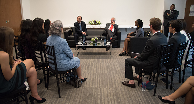 Students and faculty at Loyola Marymount University meeting with United Nations Secretary-General Ban Ki-moon.
