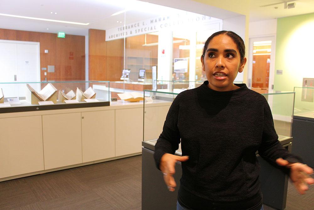 English Graduate Student, Maya Cortez, mid-talking