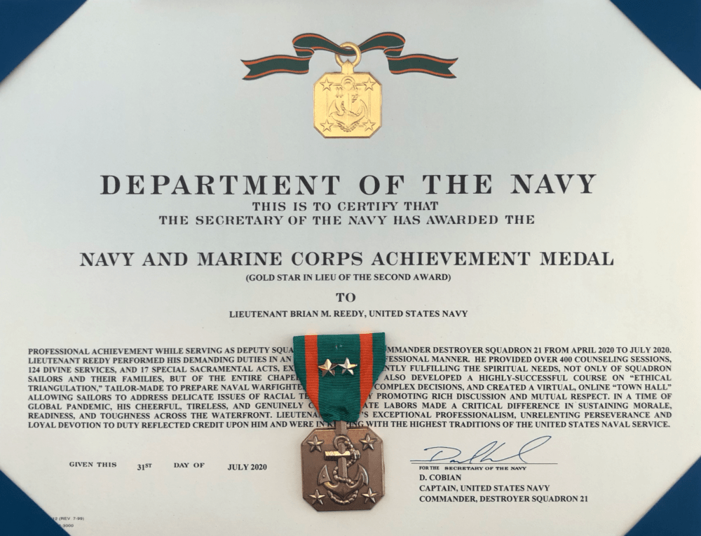 image002 - Father Reedy Receives Navy and Marine Corps Achievement Medal