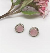 Rose Quartz Stud Earrings - Rose Quartz Posts - Bella Rose ...