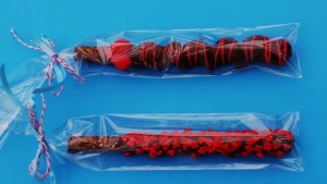 Chocolate and Caramel covered pretzel Rods, a perfect hostess gift!