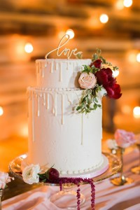 Simple modern cakes are elegant, even when they're for small weddings