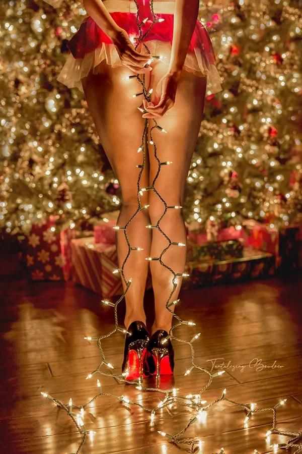 boudoir portrait of christmas light