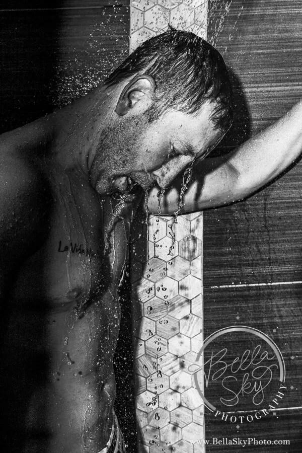 man in shower doudoir photography