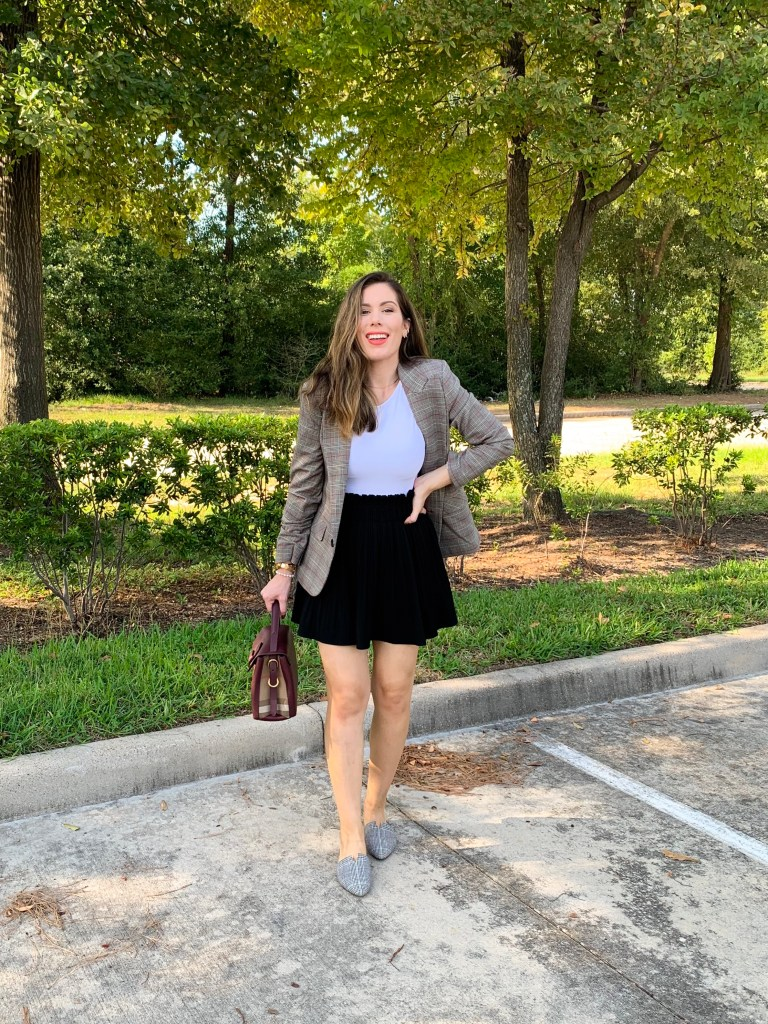 Houston fashion blogger Maria Munoz in plaid blazers for women