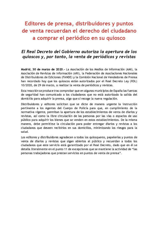 Nota de premsa del gremi de quiosquers espanyols