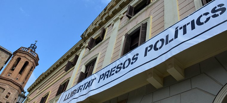 Una pancarta similar a l'Ajuntament de Sabadell