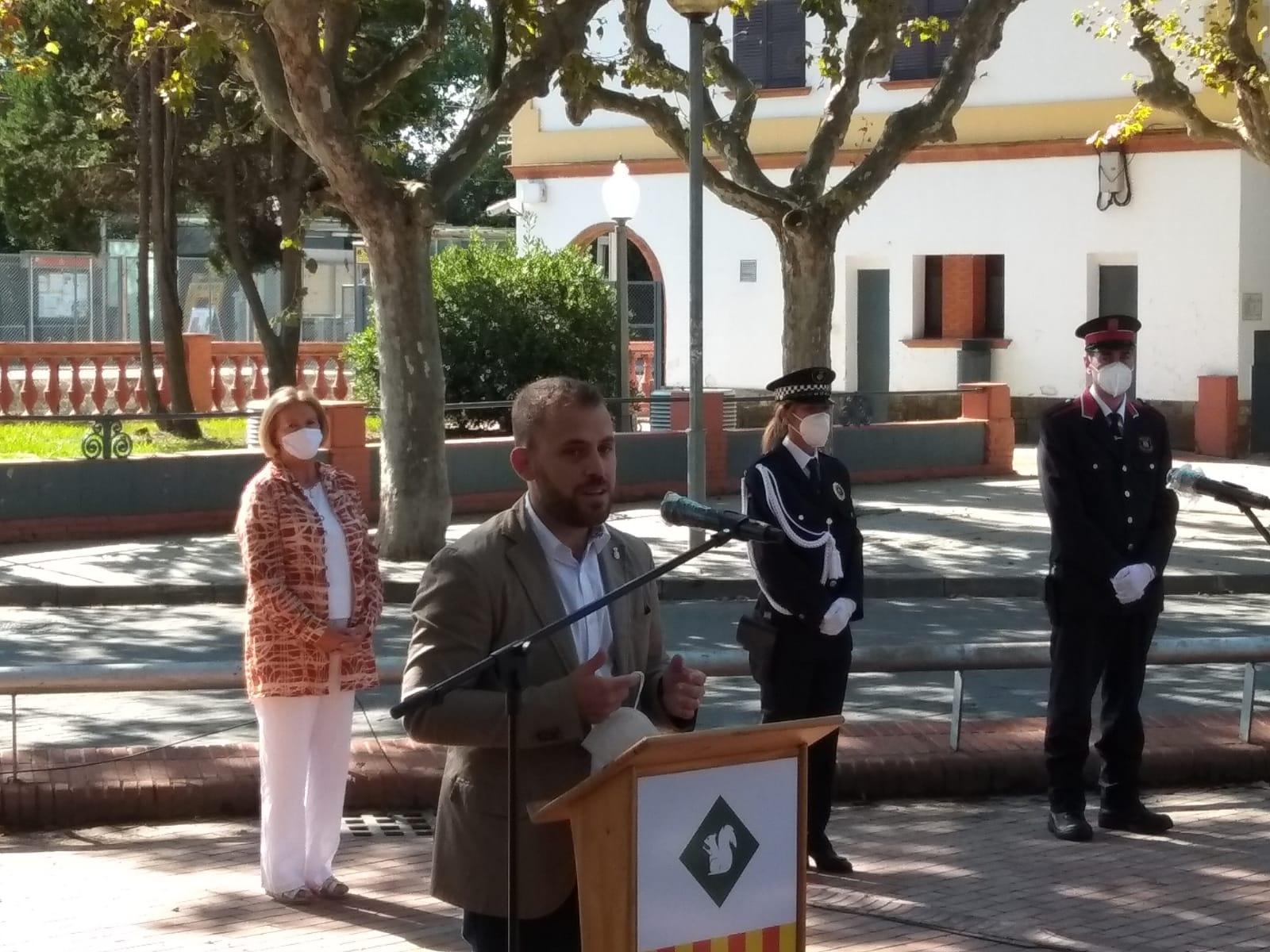L'alcalde Carlos Cordón, durant el parlament a la Diada 2020 | Toni Alfaro