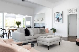 Red Hill Brisbane Home Renovation - Hamptons Style - Living Room thru to Kitchen Bella Vie Interiors - Home-min