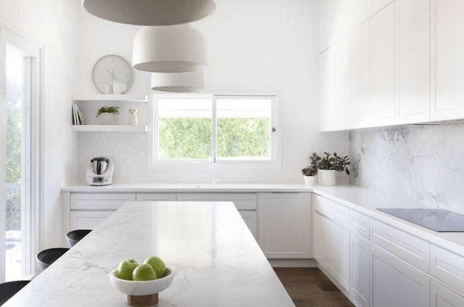 White design, modern kitchen, white kitchen, stark white