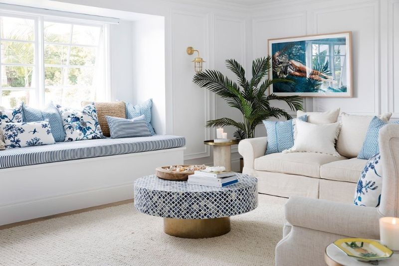 Living room hamptons blue and white comfy lounge